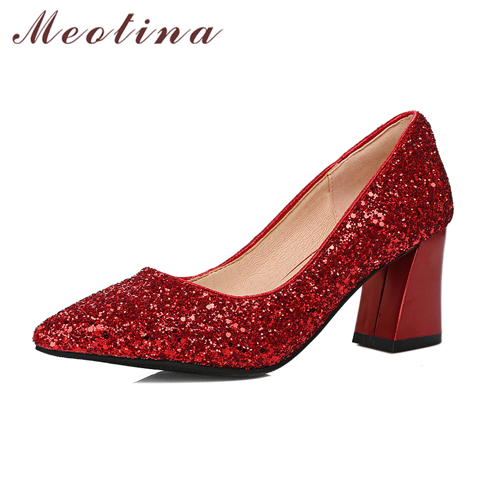 Meotina Shoes Women High Heels Pumps Bling Wedding Bridal Shoes Spring Sequined Thick High Heels Glitter Sliver Party Shoes Red
