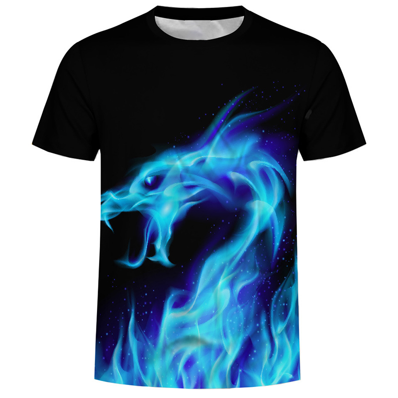 Футболка мужская брендовая одежда летняя 3D Огненный Дракон печати Футболка мужская повседневная футболка модные мужские с коротким рукаво...