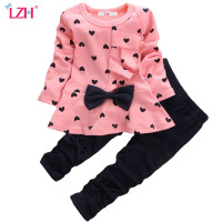 LZH 2017 Spring Autumn Baby Girls Clothes Bowknot Long Sleeved T Shirt Pant Outfit Suit Newborn
