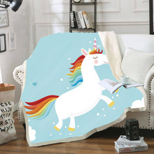 Cartoon Unicorn Velvet Plush Throw Blanket for Kid Adults Cute Fleece Blanket for Beds Sofa Thin Quilt Home Decor Christmas Gift(China)