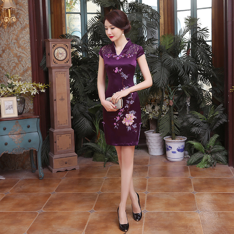 Elegante bordado flor Mini Qipao 2019 verano encaje Sexy Cheongsam púrpura Vintage baja División vestido chino Oversize S-6XL - 3
