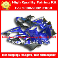 Motorcycle body work for Ninja ZX6R ZX 6R 00 01 02 ZX 6R free windshied and heatshield blue black fairing set