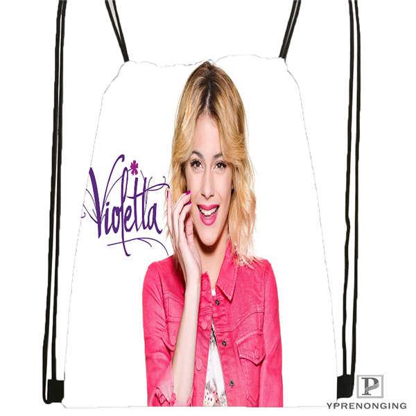 Custom Violetta-Live-  Drawstring Backpack Bag Cute Daypack Kids Satchel (Black Back) 31x40cm#2018611-2(11)