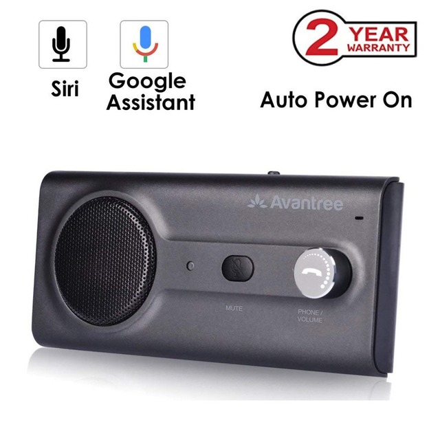 2018NEW Bluetooth Handsfree Visor Car Kit with Siri, Google Assistant Voice Command, Auto Power On Wireless In Car  speakerphone
