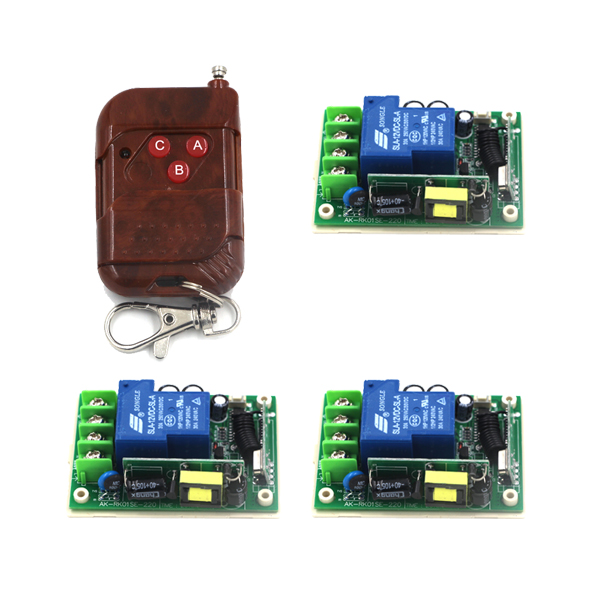Free shipping 315/433MHZ AC 85V~250V 110V RF 1 CH Wide Voltage Wooden Remote & 3 Receiver rf transmitter and receiver 4342 free shipping one lot bf244a 30v n ch rf amplifier amp jfet transistor bf244 qty 10