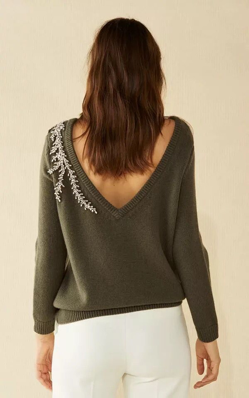 2019 New Women Wool Pull Hand Beading Backless Loose Sweater Top