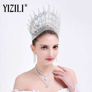 Image 2 - تاج زفاف أوروبي كبير فاخر جديد من YIZILI تاج زفاف مستدير كبير من الكريستال إكسسوارات شعر للزفاف بشكل تاج الملكة C021