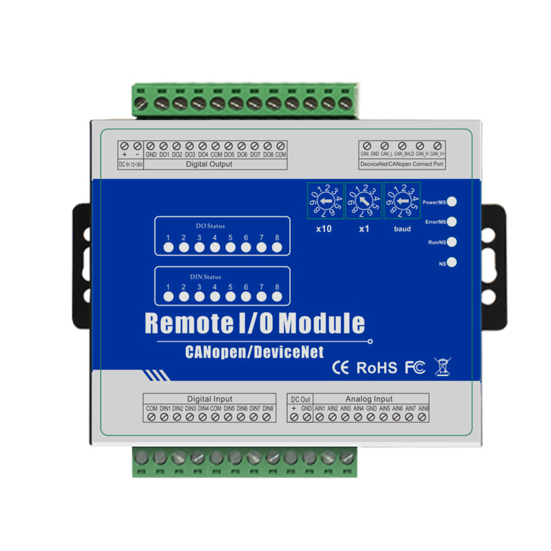 PLC Remote I/O Module with CANBus interface supports standard DeviceNet Protocol 8 Analog inputs supports 0~5V,0~10V,0~20mA i o 4 20ma electric actuators