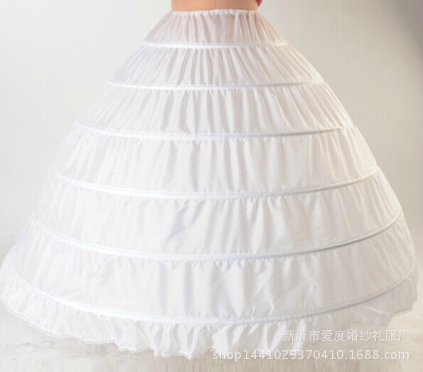 White 6 Hoop Wedding Petticoat Crinoline Underskirt Bridal Dress Ball Gown Marriage Gauze Skirt Wedding Accessories Slips New