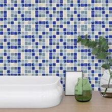 18pcs/set Blue Crystal Glass Tile 3D Mosaic Wall Sticker Waterproof Removable Self Adhesive Decal Bathroom Kitchen Home Decor 3d random design fresh green crystal glass mosaic backsplash pool wall tile bathroom kitchen decor sticker free shipping lsnsj06