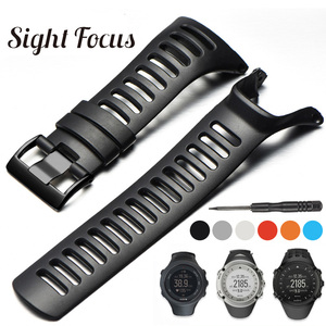 Image 1 - SIGHT FOCUS Sports Rubber Silicone Strap For SUUNTO Ambit 1 2 3 2R 2S Ambit 3 Peak Watchbands 36mm Watch Band Buckle Wrist Strap