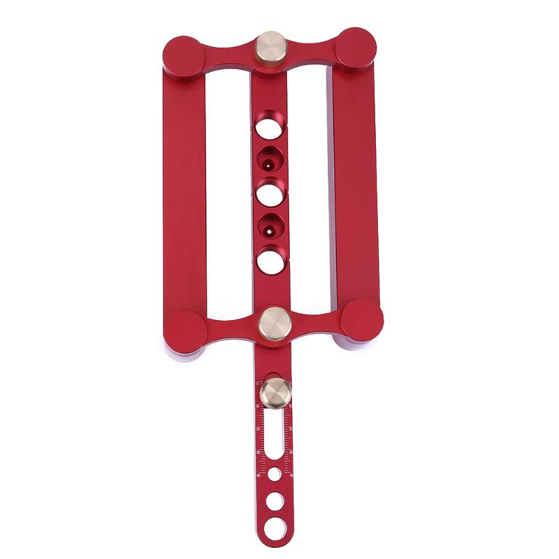 Precise Drilling Tools Woodworking Joinery tool setSelf Centering Dowelling Jig 3 in 1 Punch locator (Red)