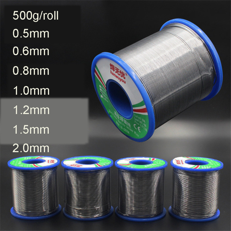 <font><b>60</b></font>/<font><b>40</b></font> Soldering Wires Welding Iron Rosin Core Lead Tin Flux 2.0 Percent <font><b>Solder</b></font> Tools 500g 0.5/0.6/0.8/1.0/1.2/1.5/2.0mm image