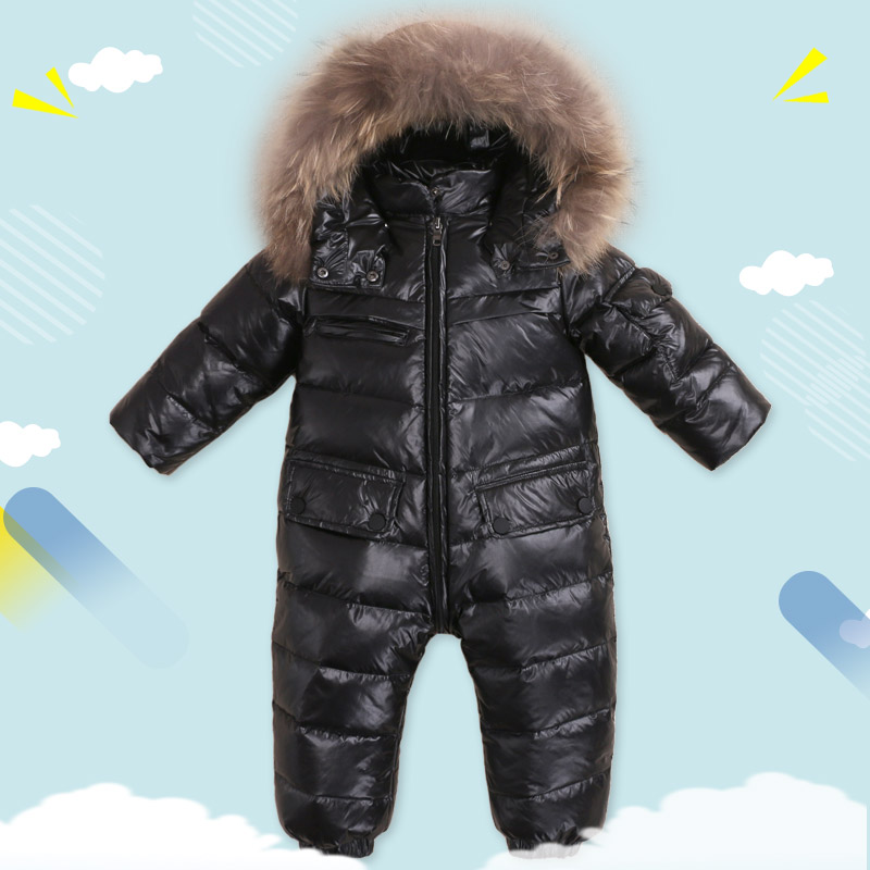 Winter Baby Rompers clothes Children Duck Down Jumpsuit Real Fur Newborn Overalls For Infants Boys Girls Jumpsuit Outerwear baby clothes baby rompers winter christmas costumes for boys girl zipper rabbit ear newborn overalls jumpsuit children outerwear