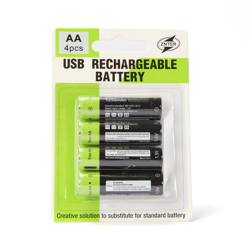 Image 5 - ZNTER 1.5V AA 1250mAh li polymer Rechargeable Battery micro usb charging 1.5v batteriesRechargeable Batteries   - AliExpress