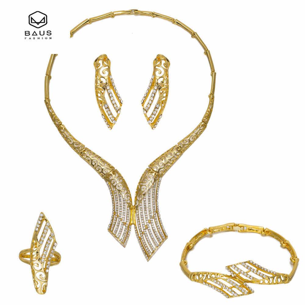 BAUS Afrikanische Nachgeahmt Kristall Perlen Schmuck-Set Dubai Gold Farbe Frauen Hochzeit Halskette Armband Ohrring Ring Party Zubehör