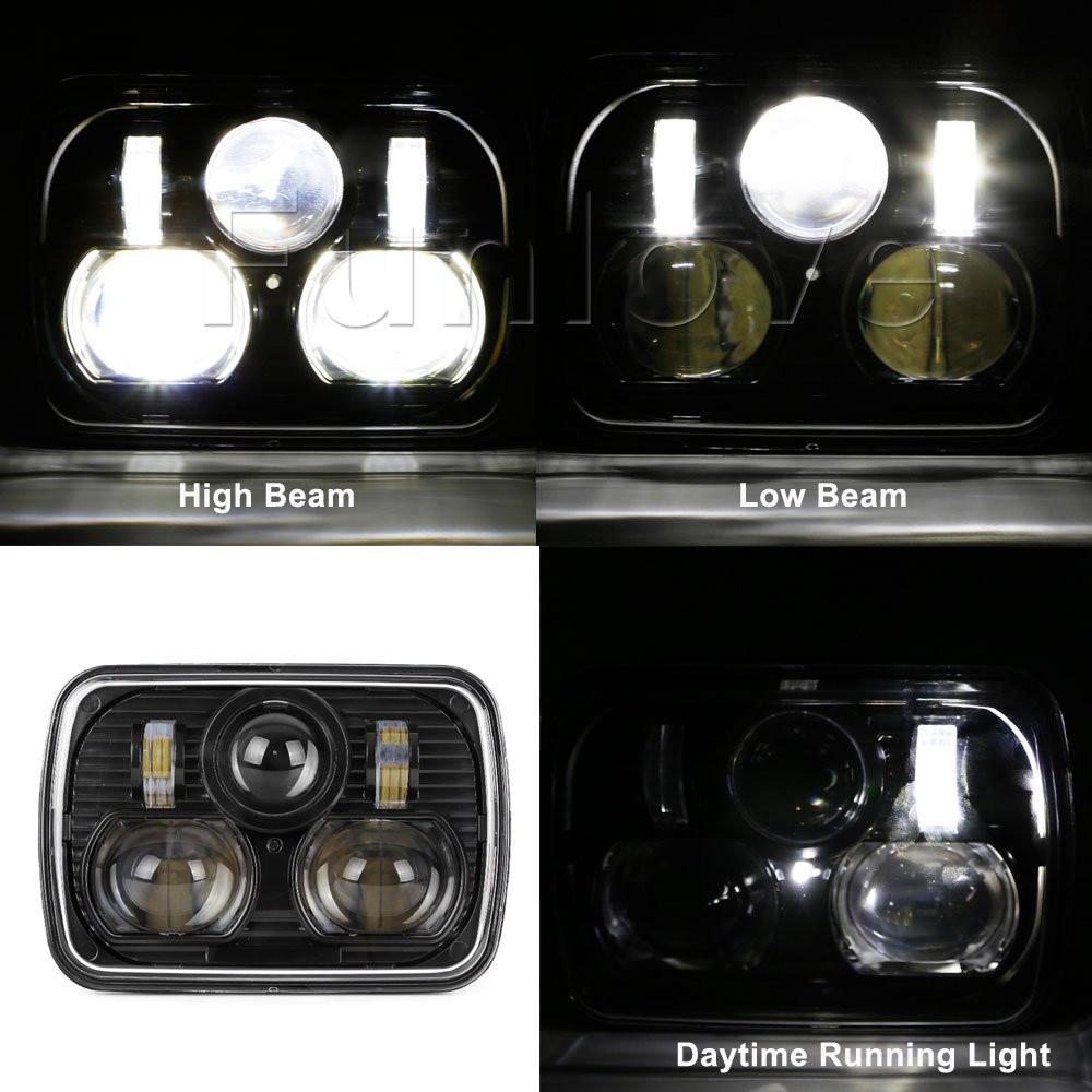 Black 5 X 7 LED Headlights Replacement for Jeep Cherokee XJ Trucks (7)