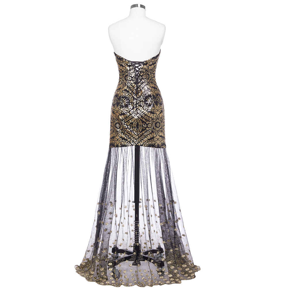 African Formal Dresses Evening Dress 2018 Sequins Print Gown Elegant Sleeveless Robe de Soiree Longue Lace Evening Party Dresses