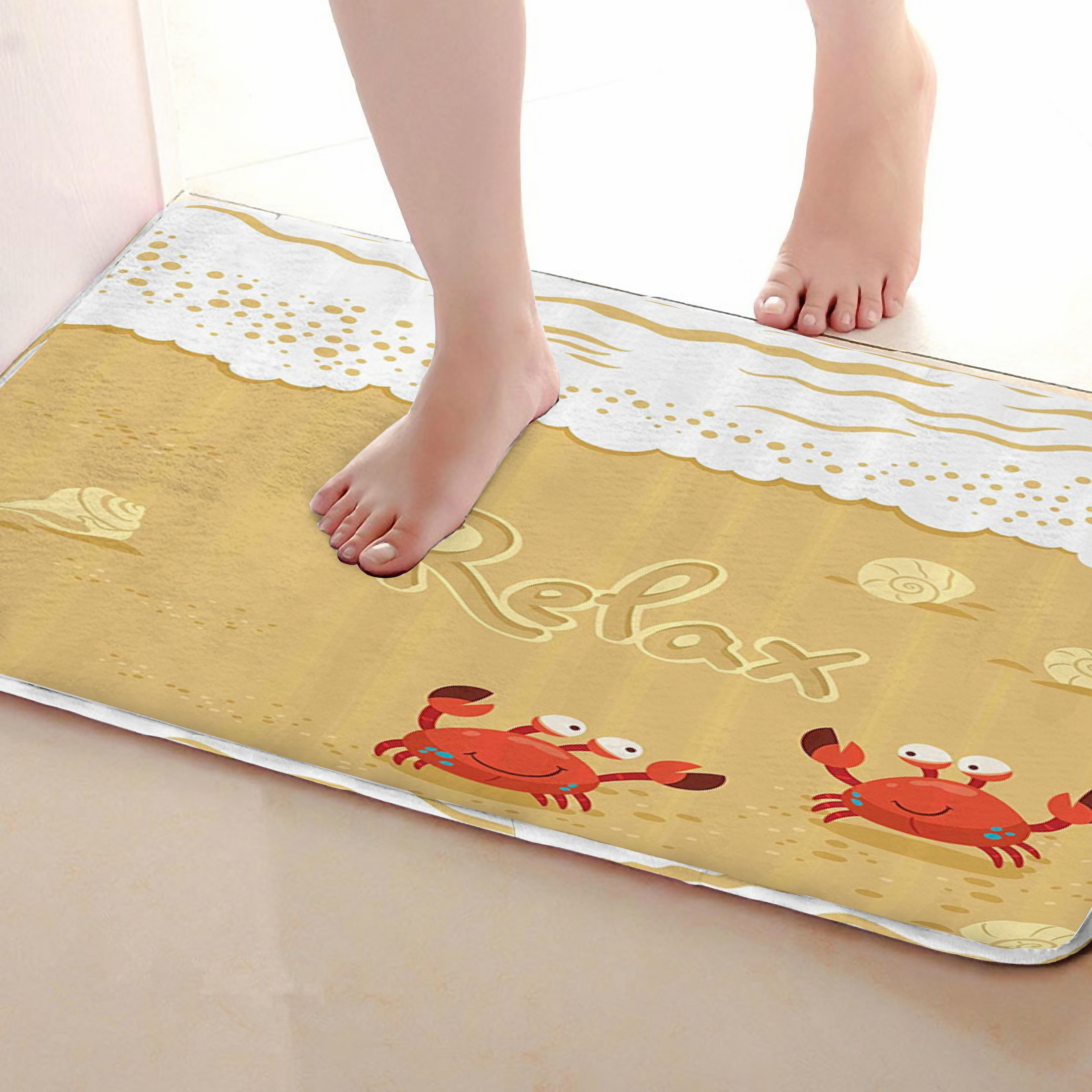 Crab Style Bathroom Mat,Funny Anti Skid Bath Mat,Shower Curtains Accessories,Matching Your Shower Curtain