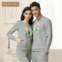 Qianxiu Knitted Cotton women pajamas lovers sleepwear long sleeve O neck pajama sets flowers Printing design women's pyjamas
