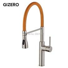 Gizero бесплатная доставка orange весной кухонный кран матовый никель отделка одной ручкой горячей и холодной воды кран смеситель gi2069