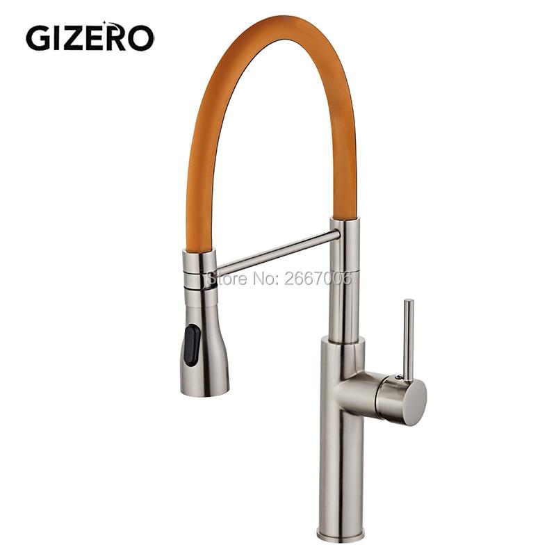 GIZERO livraison gratuite Orange printemps robinet de cuisine finition nickel brossé poignée unique eau chaude froide grue mélangeur robinet GI2069