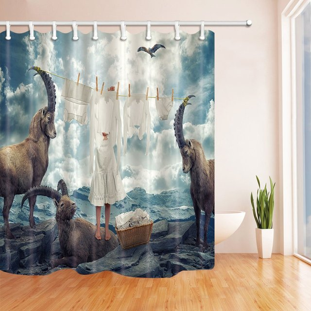 Character Scenery Shower Curtain Sky Cloud Flying Eagal Snow Mountain Black Rock Barefoot Girl Hang Clothes Bathroom Decor