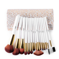 Pro 15pcs High Quality Makeup Brushes Set Soft Synthetic Hair Cosmetic Tool PU Leather Case For