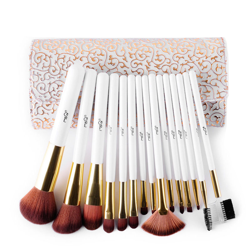 Pro 15pcs High Quality Makeup Brushes Set Soft Synthetic Hair Cosmetic Tool PU Leather Case For Fashion Beauty 2017 high quality taiwan bao gong pk 2801 vde1000v pro skit high voltage insulation electrician tool set free shipping