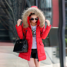 Winter Jacket Women Manteau Femme Canada Coats Parka Jackets Female Ukraine Woman 2015 Long Hooded Fur Collar Down Clothings New(China)