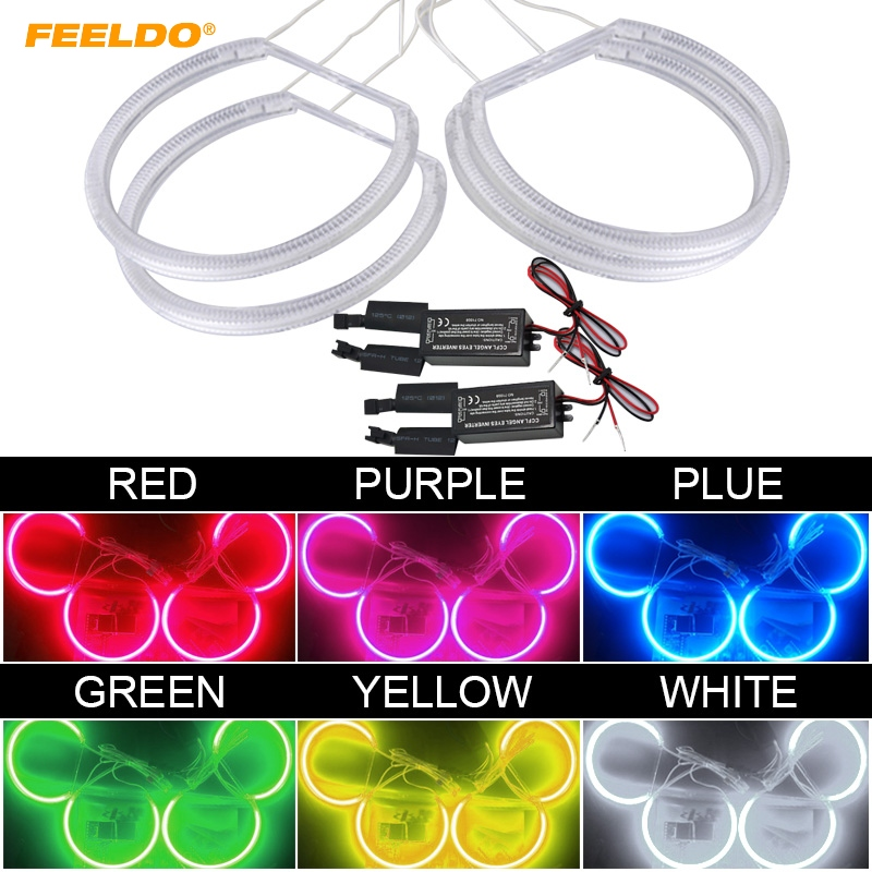 FEELDO 4X131mm Headlight CCFL Angel Eyes Light Halo Rings Kits For Lada VAZ <font><b>2106</b></font> Car-Styling White DRL #HQ1272 image