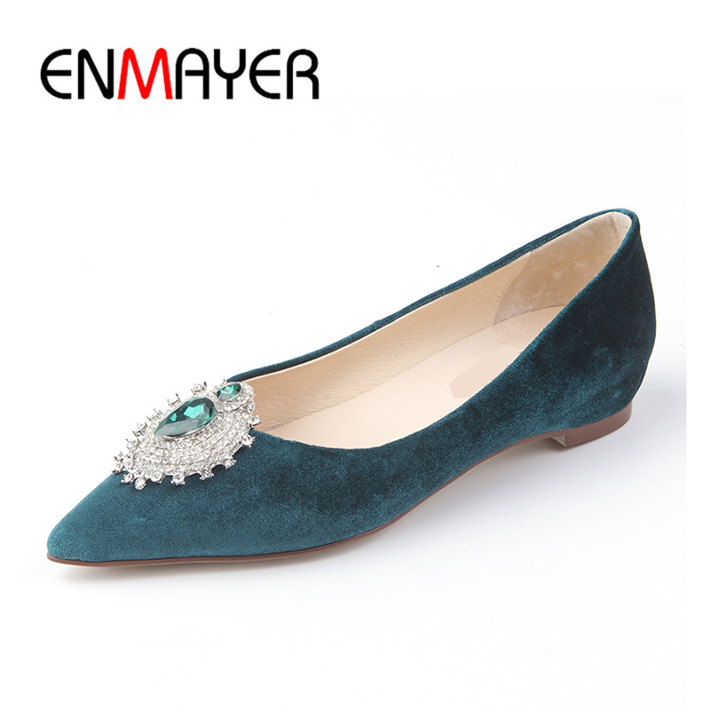 ENMAYER Summer Shallow Flats Shoes Woman Crystal Charms Black Casual Shoes Slip-on Size 39 40 Poined Toe Woman Shoes 2017 enmayer pointed toe summer shallow flats slip on luxury brand shoes women plus size 35 46 beige black flats shoe womens