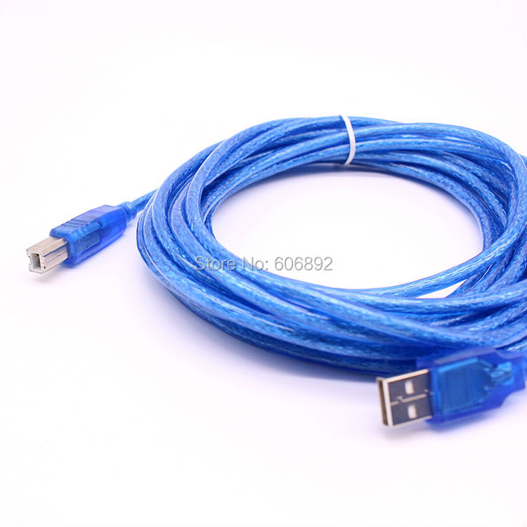 Factory Price 5M 16FT High quality shielded USB2.0 Print Printer Cable Wire A-B Blue A-Male To B-Male Magnetic ring 5pcs/lot
