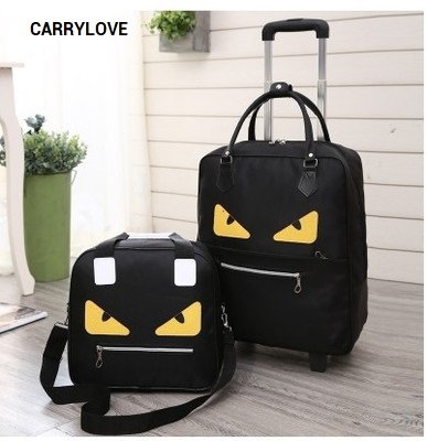 CARRYLOVE cartoon luggage series 16/18 size boarding handbag+Rolling Luggage Spinner brand Travel Suitcase