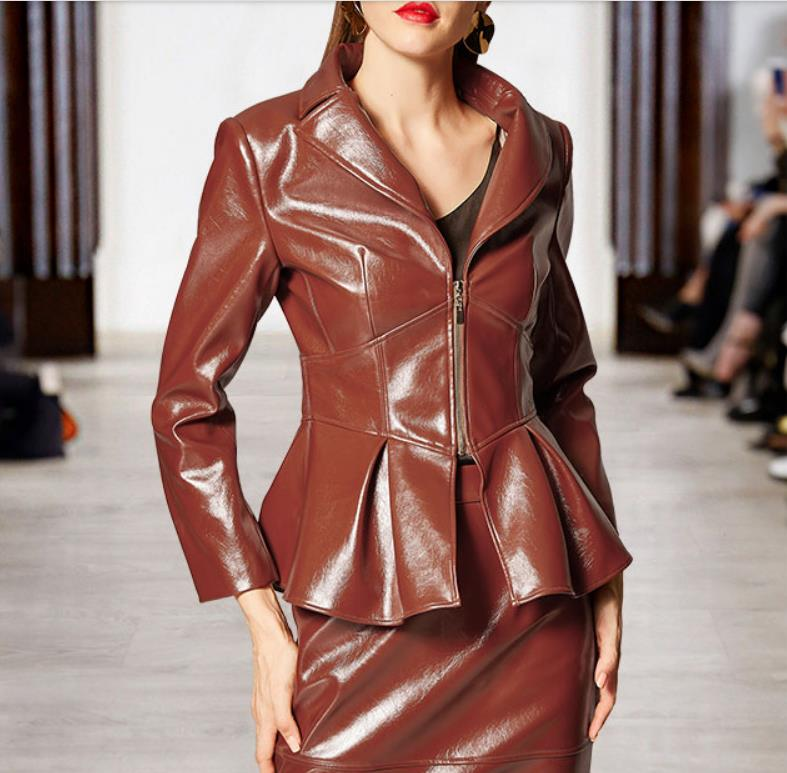 Spring new PU   leather   jacket tops female short classic Ruffles coat women slim was thin long sleeve   leather   outerwear wq1384