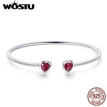 WOSTU 100% 925 Sterling Silver Heart Crystal Elegant Adjusta