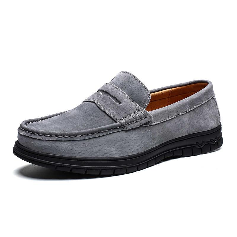 Vancat marka inek süet deri erkek daireler 2019 yeni erkekler rahat ayakkabılar yüksek kaliteli erkek mokasen ayakkabıları mokasen sürüş ayakkabısı büyük Size39-46