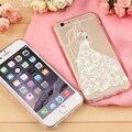 Телефон Случаях для iPhone 6 6 s Plus трехмерная кружевные дрель дизайн ТПУ Кремния Телефон Обложки Shell Капа с Dust разъем