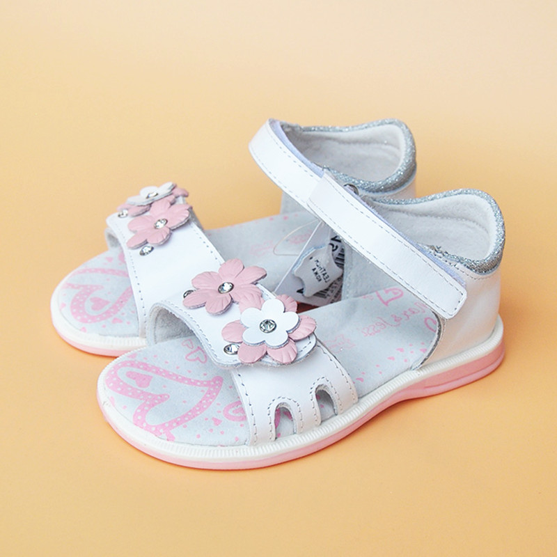 new 1pair Flower Girl Genuine Leather Orthopedic Shoes, Super quality Summer Children Kid Shoes