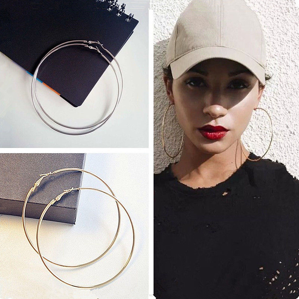 4 Size Women Gold Silver Color Metal Big Circle Smooth Large Big Round Hoop Earings For Women Sexy Fashion Jewelry