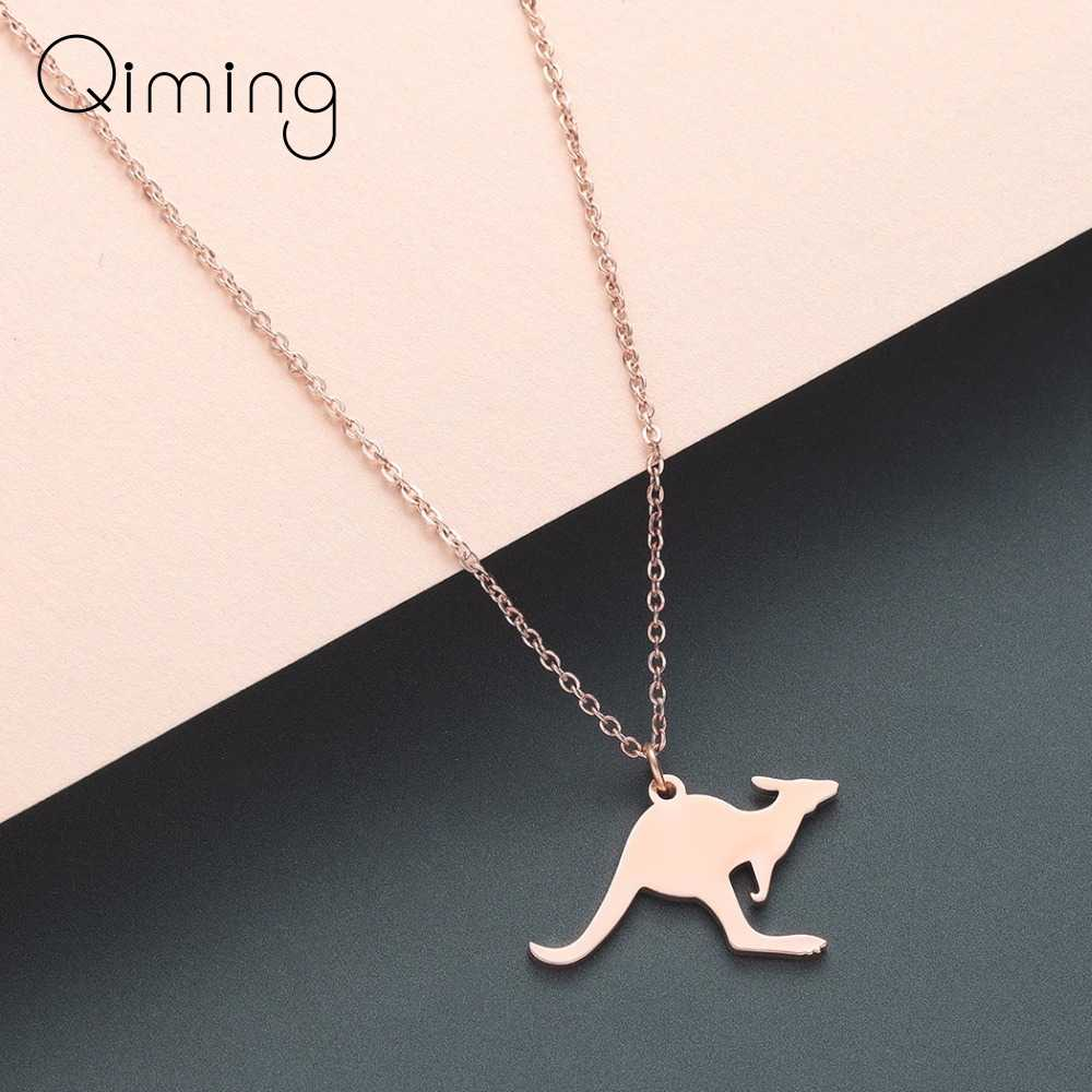 Australia Kangaroo Necklace Baby Gift Silver Stainless Steel Charm Australian Animal Vacation Wallaby Women Necklace