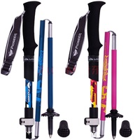 1 Pair Collapsible Adjustable Hiking Trekking Poles Aluminum And Carbon Fiber Best Folding Collapsible Nordic Walking