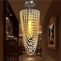 LED 1 Light Chrome K9 Modern Crystal Chandelier Lighting D17 H45cm 110V 220V Transparent Color