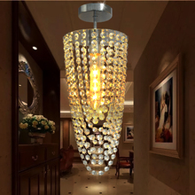 LED 1-light Chrome Modern K9 crystal chandelier lighting D17*H45cm AC110V-256V Transparent color