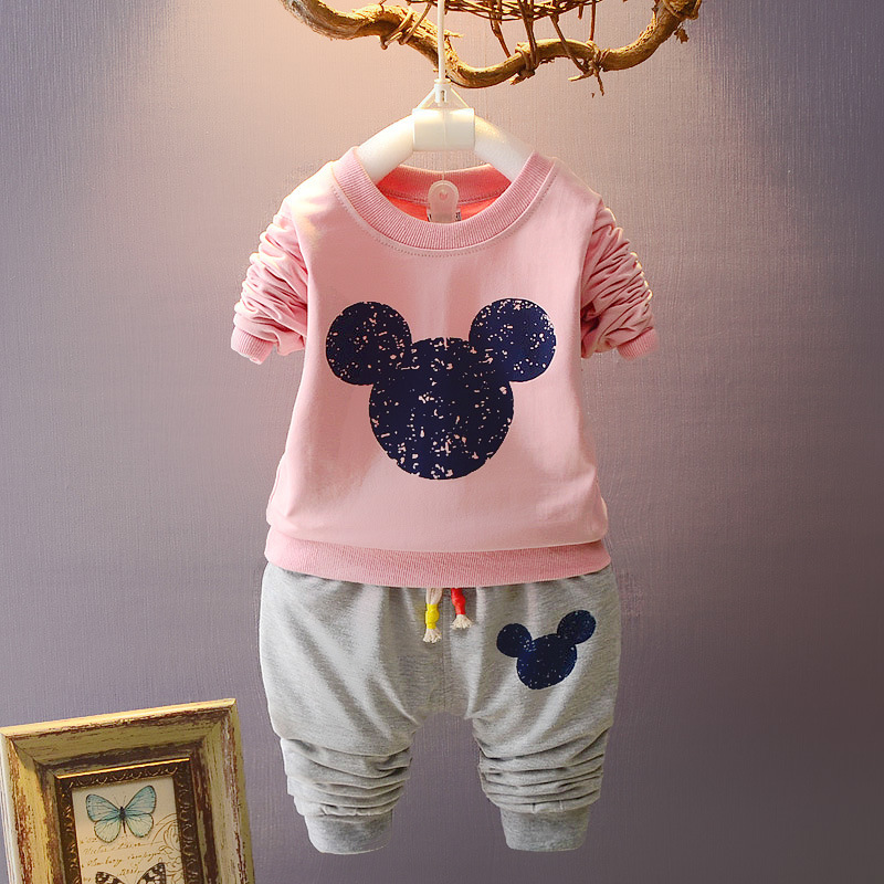 New Children 's clothing sets Mickey Minnie boys and girls fashion sportswear sets Baby Kids Cotton Clothes for 1-4 years old ad children s mickey thick sets 2 10 age cotton sweater pants boys girls christmas t shirts trousers kids clothing clothes