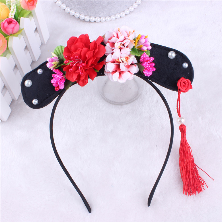 Korea lovely Big Flower Tassel Hair Accessories For Girls High Quality Hair Band Princess Headband Hair Bow