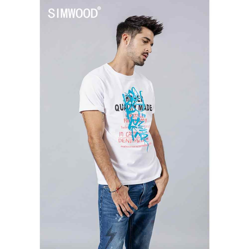 Simwood 2020 Musim Panas Baru Fashion Huruf Cetak T Shirt Pria 100% Kapas Blok Warna Kasual O Leher Kualitas Tinggi Merek Pakaian 190240