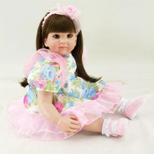 22 inch 55 cm  reborn  Silicone dolls, lifelike doll reborn babies toys Flower dress doll