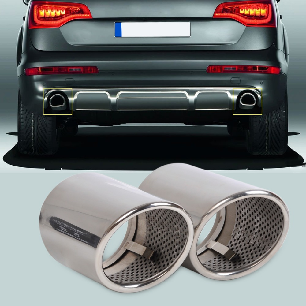 2X STAINLESS STEEL FINISHER END EXHAUST TAIL REAR MUFFLER TIP PIPE TAILPIPE For AUDI Q7 <font><b>2006</b></font> <font><b>2007</b></font> <font><b>2008</b></font> <font><b>2009</b></font> <font><b>2010</b></font> <font><b>2011</b></font> <font><b>2012</b></font> <font><b>2013</b></font>
