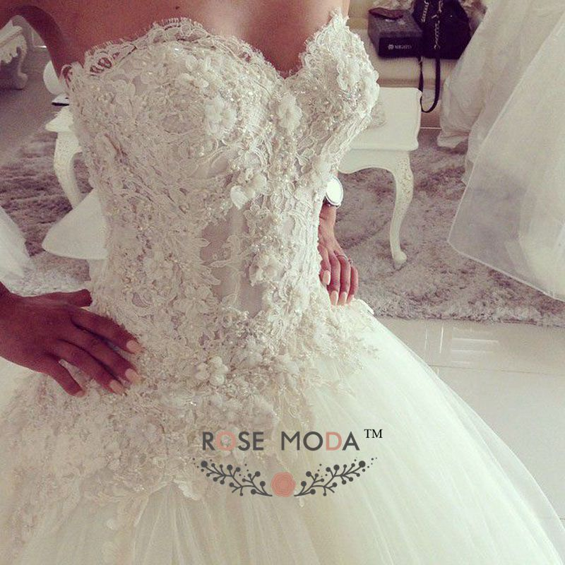 Wedding Dress Lace Corset Top : Stunning see through lace corset princess ball gown